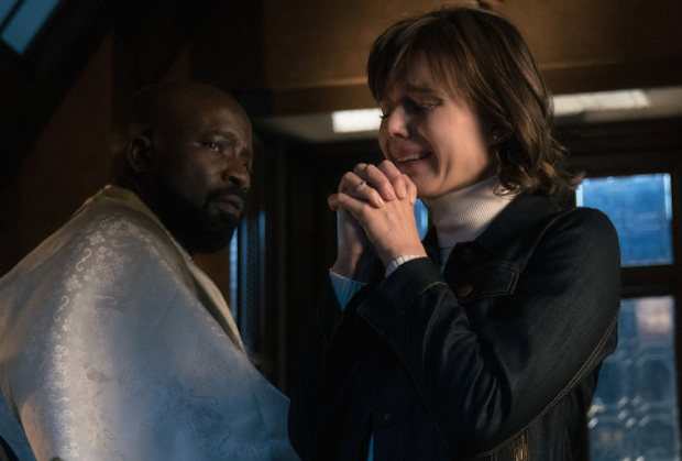 Pictured (L-R) Mike Colter as David Acosta and  Katja Herbers as Kristen Bouchard of the Paramount+ series EVIL.  Photo: Elizabeth Fisher/CBS ©2021Paramount+ Inc. All Rights Reserved.